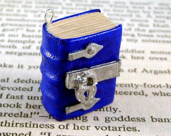 Miniature Book Necklace Charm Lock and Hinged Thick Book Blue