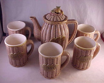 Ceramic Coffee Server and 5 Coffee Cups Basket Pattern