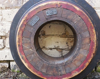 Antique wood Foundry Mold round Architectural salvage Frame 18 inch wheel cog Industrial Rustic Nautical  Repurpose supplies Red black