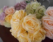 Pastel Silk Rose Bouquet Set of 5 in Yellow, Peach, Green, Lavender for Wedding Bridesmaids or Special Occasion Table Decor ready to ship