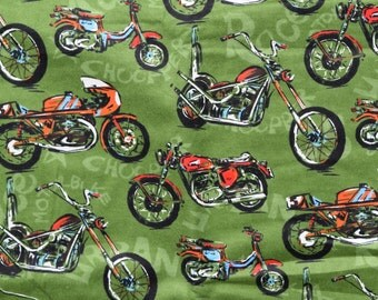 Motorcycles on a green background Lounge pants pajama dorm flannel made to order your choice size XS - 2X