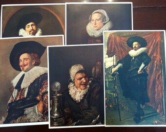 1941 Frans Hals Color Prints (5): Laughing Cavalier Witch of Haarlem Portrait of a Man Woman Willem Van Heythuysen