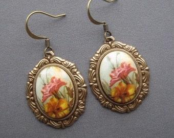 Wildflower Earrings - Cameo Earrings - Botanical Earrings - Cameo Jewelry - Wildflower Jewelry - Romantic Earrings - Flower Earrings