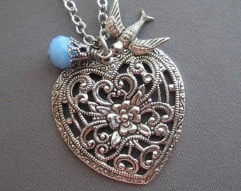 Heart Necklace - Heart Jewelry - Filigree Necklace - Heart Pendant - Victorian Jewelry - Filigree Jewelry - Romantic Jewelry - Gift for Her