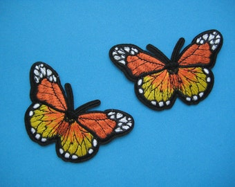2 pcs Iron-on Embroidered Patch Monarch Butterfly 3 inch