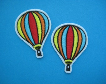 Sale~ 2 pcs iron-on Embroidered Patch Hot Air Balloon 2.1 inch