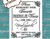 INSTANT DOWNLOAD- 8 x 10 Bible Verse Guest Book ---Printable PDF File