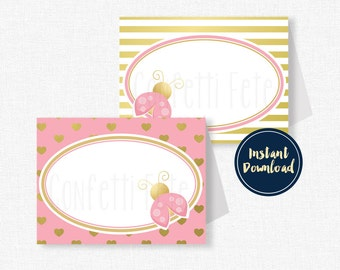 Ladybug Food Labels, Ladybug Buffet Cards, Pink Ladybug Party Decorations, Pink and Gold Party, Printable Food Labels INSTANT DOWNLOAD