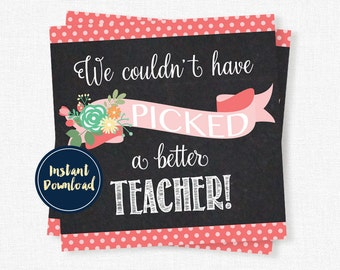 Teacher Appreciation Tag, Couldn't Have Picked A Better Teacher, Teacher Flower Tag, Printable INSTANT DOWNLOAD