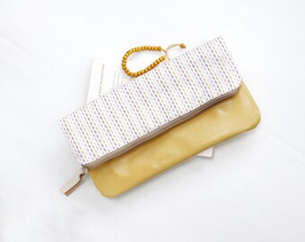 Leather fold over clutch Zippered purse bag wallet Cotton canvas yellow white coral