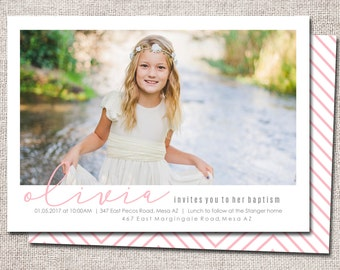 LDS Baptism invitation, modern baptism invitation, printable, baptism announcement, baptism invitation, boy, girl  (Olivia)
