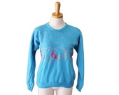 BLOWOUT 40% off sale Vintage Ugly Christmas Sweater - Novelty Birds Sweatshirt Women Men S - Pixelated Holly 2 Side Blue