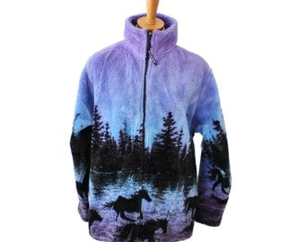 Vintage 90s Horses and Trees Fleece Jacket - Black Mountain Outdoor - Women S M