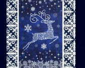 Reindeer Prance Winter Quilt Kit Easy Fabric Panel Christmas Blue White
