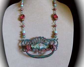 OOAK Escutcheon Pendant Necklace in Verdigris Green and Muted Red Verdigris Bat in Center, Bold Beaded Chain