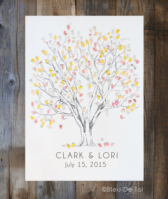 Wedding Guest Book Alternative, Fingerprint tree, Large Cottonwood Tree, Custom Wedding Guest Book, thumbprint tree, Rustic Wedding