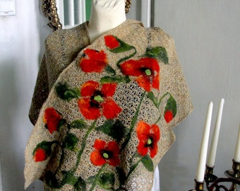 Nuno felted scarf, shawl poppy beige,red, green flower, poncho,   floral applications,gift,
