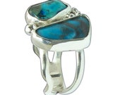 Kingman and Sweetwater Turquoise and Sterling Silver Twos Stone RIng, Size7  r7turg2658