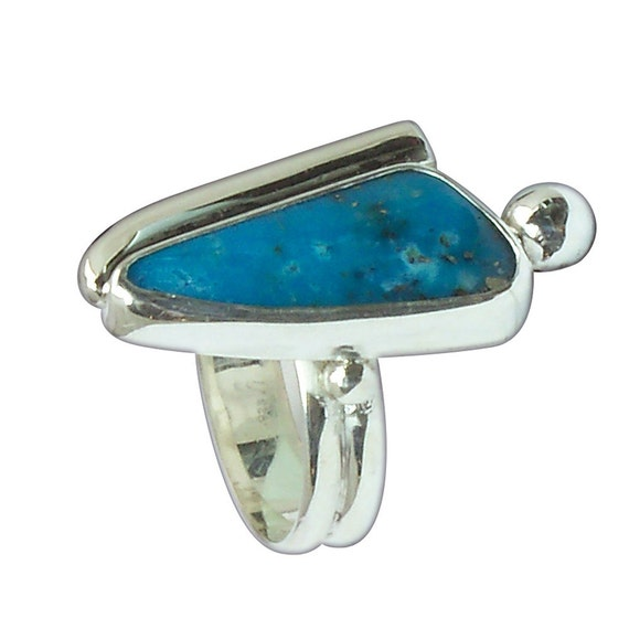 Kingman Turquoise and Sterling Silver RIng, Size5-1/2 r55turf2657