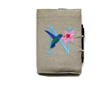 A5 notebook and pen, gift set, personalised initial and humming bird, reusable embroidered personalised letter beige linen notebook cover.