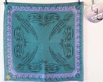 Vintage Tammis Keefe Calligraphy Linen Handkerchief