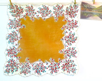 Vintage Handkerchief with Autumn Leaves in Goldenrod Yellow and White