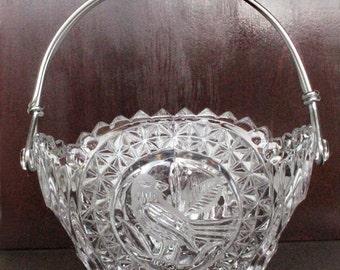 Hofbauer Byrdes Lead Crystal Basket With Silver Handle