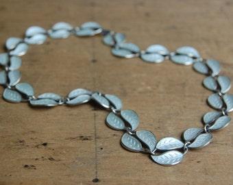 Vintage David Andersen Norwegian enamel leaf necklace and earring set