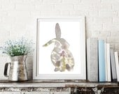 bunny print in dusty purple, bunny silhouette art, 8x10 rabbit art print, easter animal art, dreamy nursery decor, pink flower blossom photo