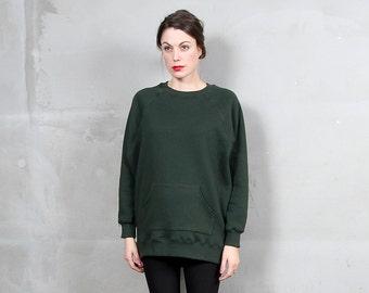 Green Oversized Sweatshirt    Custom Made Forest Emerald Green Jumper Tunic   Hunter Green Crewneck Sweater Dress with Pockets