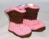 RTS - 0-3mo pink, brown -Baby Cowboy Booties boots baby slippers baby socks