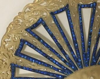 Art Deco Rhinestone Celluloid Hair Comb