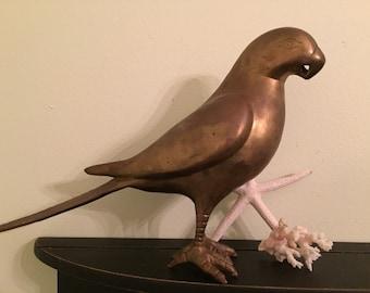 Very LARGE BRASS PARROT Standing Parrot Mid Century Boho Brass Sculpture Brass Figurine at Modern Logic
