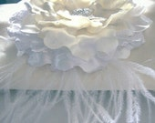 Large Handmade Satin Wedding Bridal Flower in Three Colors with Ostrich Feathers