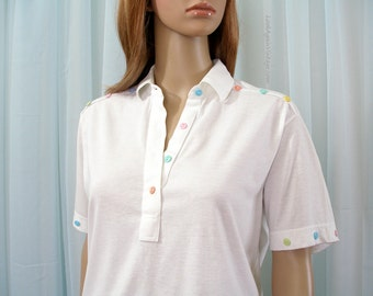 Vintage 1960s Polo Shirt Cream White Pastel Buttons Trim Banded Knit Blouse Top/ Small to Medium