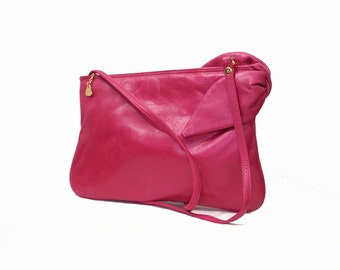Vintage 1980s Shoulder Bag Hot Pink Fuchsia Big Bow Leather Clutch