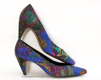 Vintage 1980s High Heels Blue Multicolor Unworn Pumps Shoes / U. S. 8 8.5 N