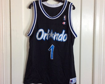 1990's Penny Hardaway number 1 Orlando Magic NBA Basketball team black Champion Jersey Tank size 44 made in USA