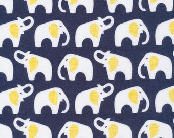 Organic FLANNEL Fabric - Cloud9 Flannel - Elephants Navy
