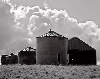 Grain Silo Photograph in black and white, Farm Photography