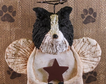 Border Collie Angel, OOAK, handmade from papier mache, BORDER COLLIE