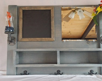 Entryway Mirror with hooks, Entryway organizer, mail, mirror, coat rack, whiteboard, chalkboard, cork board, shelf, mirror with hooks