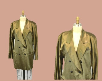 Escada blazer jacket OLIVE green vintage 80s double breased smoking jacket 42 evening cocktail dress IngridIceland