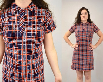 Mod Dress plaid nerd hipster navy and red striped knee length collar 60s indie