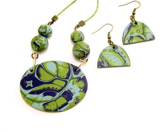 Polymer Clay Jewelry Set, Aqua Green and Blue, Abstract Jewelry, Boho Jewelry, Art Jewelry, For Women, Handmade Jewelry