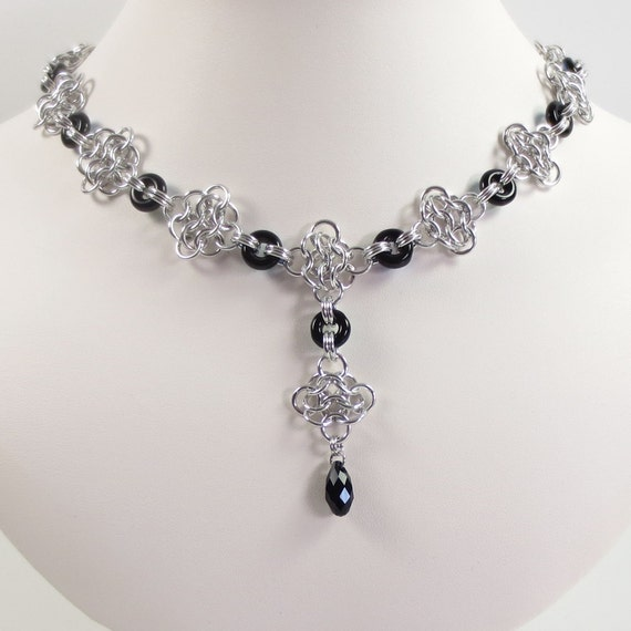Rosettes and Jet Black AB Czech Glass Chain Mail Necklace, Chainmaille Jewelry, Renaissance Jewelry