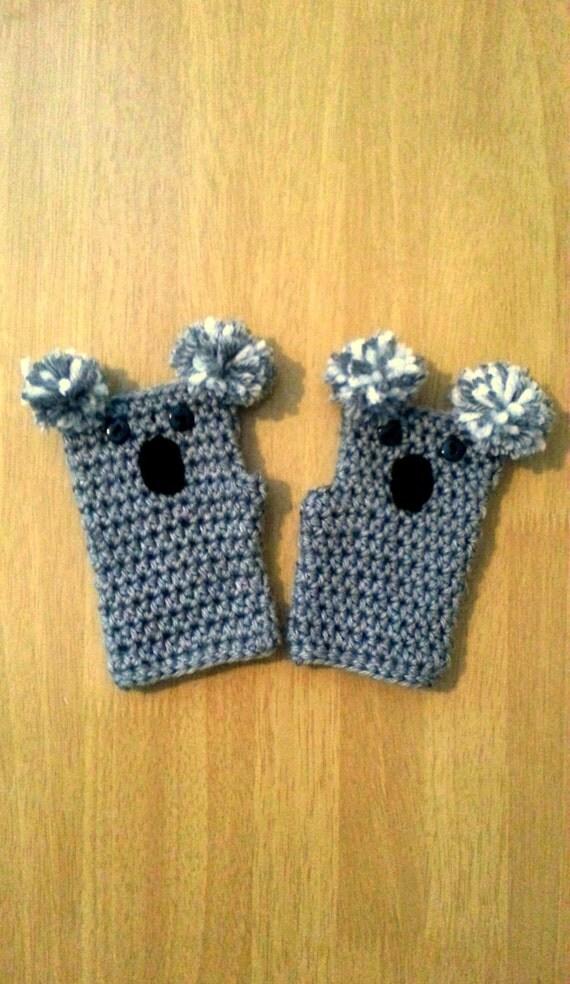 Children's Fingerless Gloves, Koala Crochet Gloves, Kids Mittens, Wrist Warmers, Children's Crochet Arm Warmers