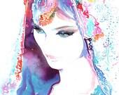 Original Watercolour Painting. Watercolor Fashion. Titled: Bride