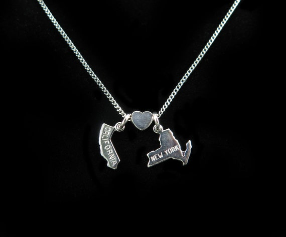California Loves New York - Silver Plated Charm Necklace - You Choose State