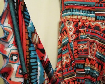 """Ladies' Tribal Print Turquoise & Peach Polyester Stretch Knit Jersey Maxi Skirt for Church, Work, Travel or play,S/M , 38"""" long"""